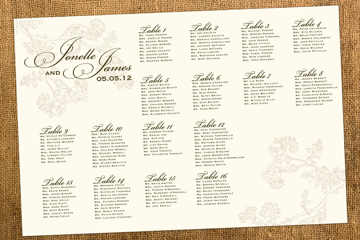 Wedding Table Chart Creator Wedding seating chart vintage for – Guest Seating Chart Template