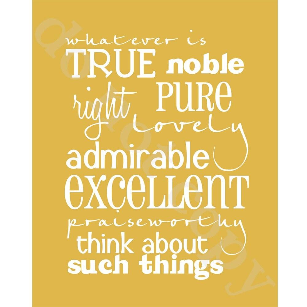 Whatever Is True Gold 8x10. Philippians 4.8