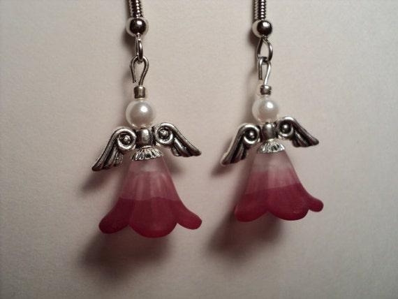 2 Tone Pink Flower Angel Earrings  E1118