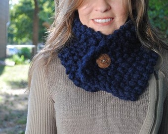 Chunky Knit Neckwarmer Cowl with Button - Navy