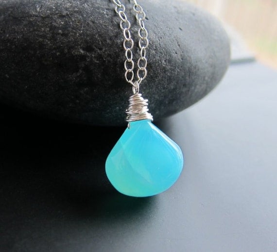 Sterling Silver and Caribbean Sea Peruvian Opal Necklace