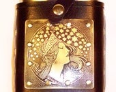Steampunk Art Nouveau Etched Leather Pouch w/8oz Flask -black and brass-