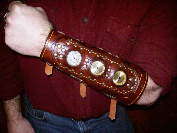 Steampunk Bracer With Functional Gauges/Clock