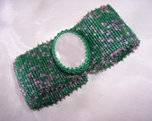 Rose Quartz with Green and Pink Beadwoven Cuff Bracelet