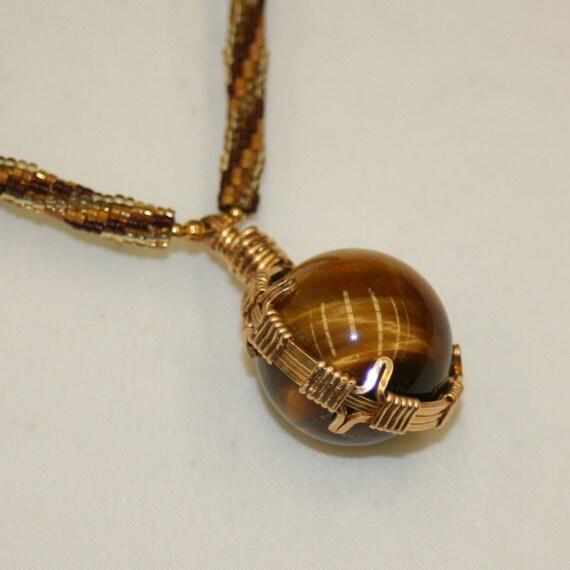 Tiger Eye Sphere  Beadwork Necklace