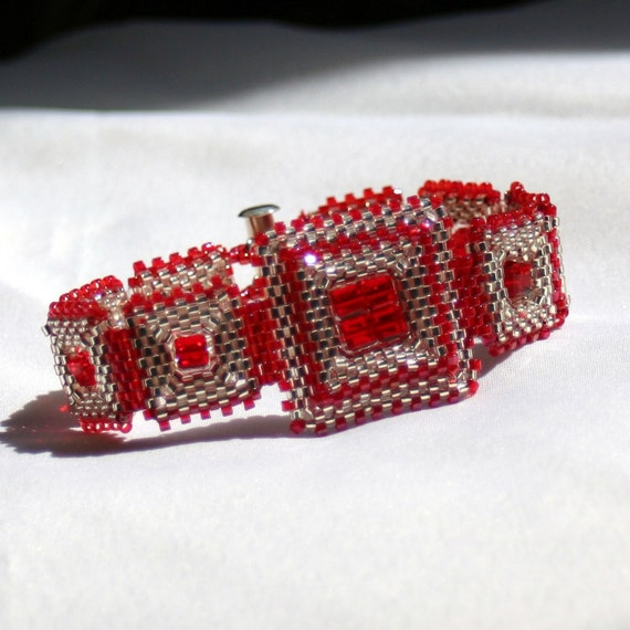 Red and Silver Beadwoven Bracelet with Swarovski Elements and Sterling Silver clasp