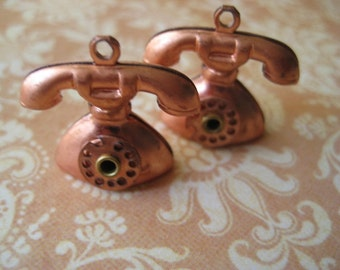 Vintage Copper Telephone Charms
