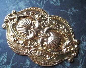 Brass Shell Stamping Rare Vintage Large Ornate