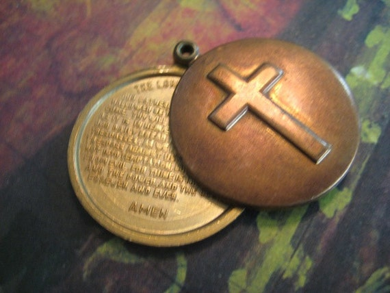 Vintage Locket Cross with Lord's Prayer Rare Slide Locket