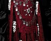 Scarlet's Lounge Tribal Belly Dance Crochet Banjara Mirror Coin Belt