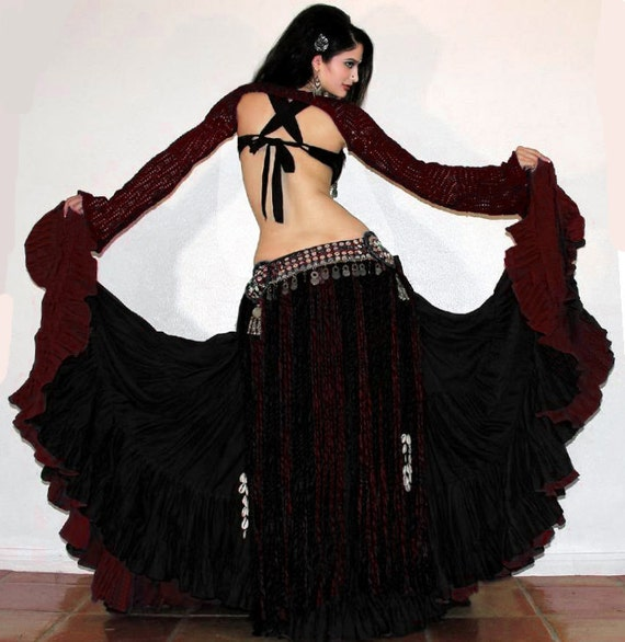 CRUSHED VELVET GYPSY SKIRT/Belly Dance/Goth/Pagan/Hippy ... |Gothic Belly Dance Skirts