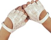 Fingerless Gloves -  Leather Gloves - Leather Fingerless Gloves - Off White Fingerless Leather Gloves