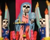 Day of the Dead, Dia de los Muertos, Original Folk Art Retablo Altar by Museum Collected Folk Artist / Antonio Villafanez / Very Collectible Folk Art / Price Includes Free Insured Shipping to Lower 48 States