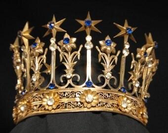SALE Price - Antique French Gilt Brass Jeweled Saint Santos Crown Tiara of Stars & Liliy's Circa 1860-80.