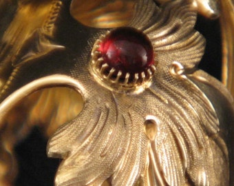 Gold Vermeer over Sterling Silver / Crown / Carved / Chased / Diamonds / Pearls / Amethysts & Cabochon Garnets / Hallmarked 1831- 68