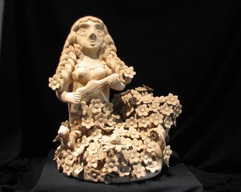 Original Folk Art Clay Mermaid Sculpture / by Master of Mexican Folk Art / Irma Blanco / Price Includes Insured Shipping to Lower US States