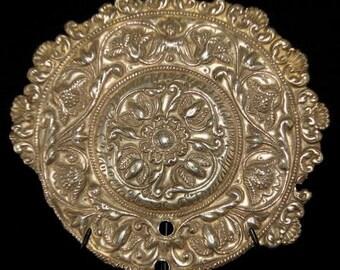 SALE-18th Century Silver Spanish Antique Aureole / Halo / Museum Quality Piece/ Repousse / Old Spanish Inscription dates piece to 1748-SALE