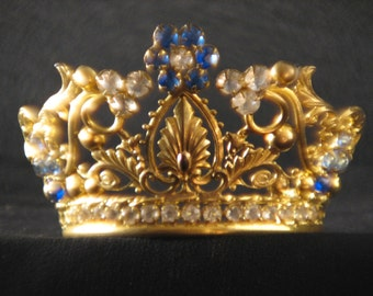 Antique French Petite Gilt Brass Jewel Tiara Crown/Altar Crown/Religious Crown/Saint Santos the only pieces missing are from the back strap