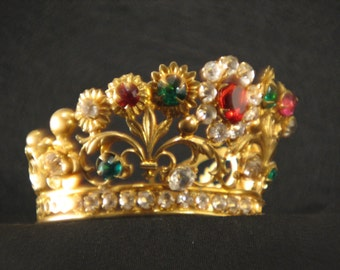 Antique French Petite Jeweled Gilded Crown