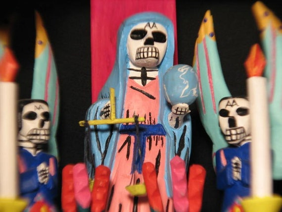 Day of the Dead / Dia de los Muertos  Original Folk Art Retablo Altar by Museum Collected Folk Artist Antonio Villafanez / Very Collectible
