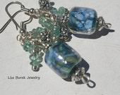Earrings Beautiful Lampwork in Blues with Blue Apatite Gemstones