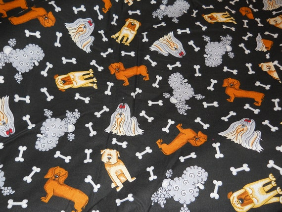 Cover Pups pet bed sack black doxie print  fabric