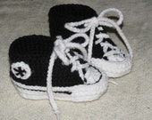 Custom made Crocheted Converse Style Baby Booties