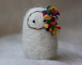 White and Rainbow Needle Felted Art Doll