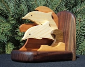 Bookends: Catch the Wave with Dolphins Sculpted Wooden Fine Art