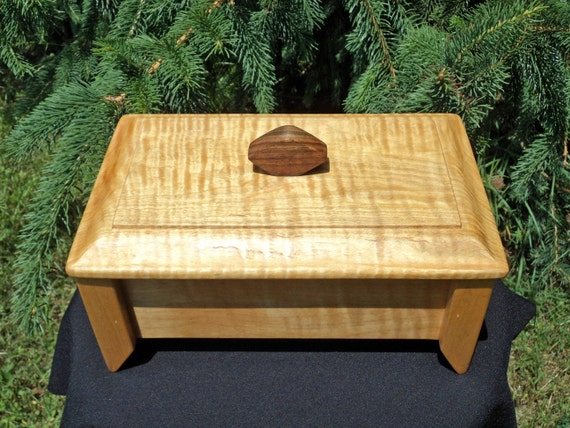 Jewelry Box / Valet: Handcrafted Wooden Box of Curly Maple