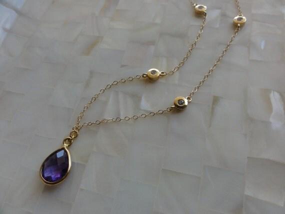 Faceted Amethyst Vermeil Bezel Pendant witn Gold CZ Connectors on Gold Chain Necklace