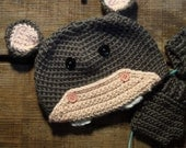 Hippo Hat grey gray crochet handmade with love beanie (hat only)