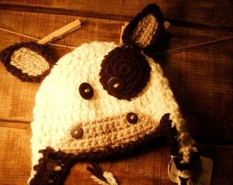 "Cow Hat ""MOOO"" Crochet Hat Earflaps Infants, Children to Adult Hat"