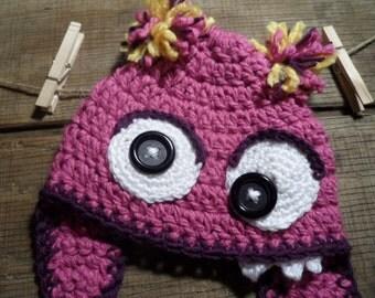 Googly Eyed Pink Monster Crochet Hat, Beanie