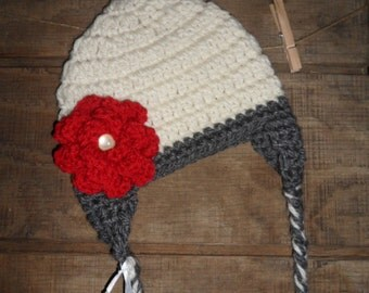 Crochet Cream and Grey Hat with Red Floral Accent and Earflaps Crochet Hat, Child, Teen, Adult