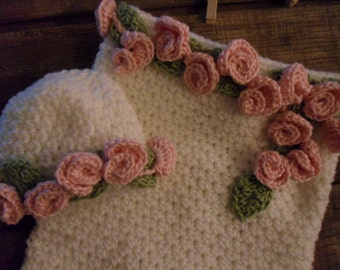 Crochet Rosette Baby Sack Cocoon Baby bag Papoose and hat crochet White Pink Rosette