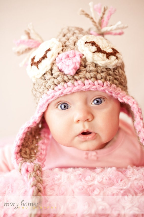 SPECIAL ORDER for Sweetamy Baby Owl Owlette Hat in beige and pink crochet INFANT