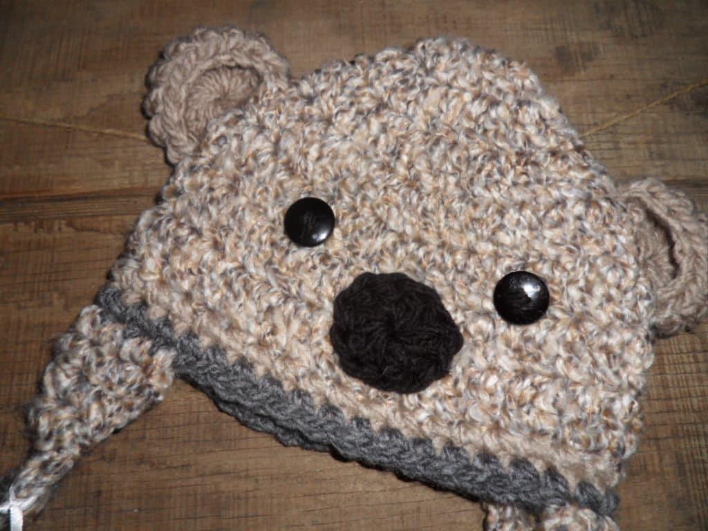 Koala Bear Crochet Hat Textured Cream Taupe Grey Button Eyes