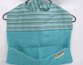 SALE - Handmade Baby Bibs - Toddler Bibs - Washcloth Bibs - Aqua Stripes