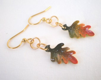 Autumn Leaf Earrings, Red and Orange Autumn Jewelry, Oak Leaf Beaded Earrings