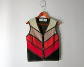 70s Suede Vest  / Sunset Desert Earth Leather Top // Medium