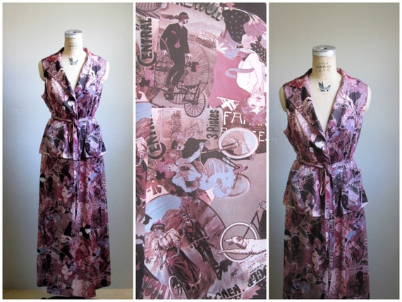vtg 1970s // 2pc Victorian Fair Mauve and Pink Set // Large