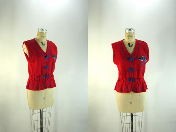 vtg 1990s Sweater // Red Birds Sweetheart Love Small