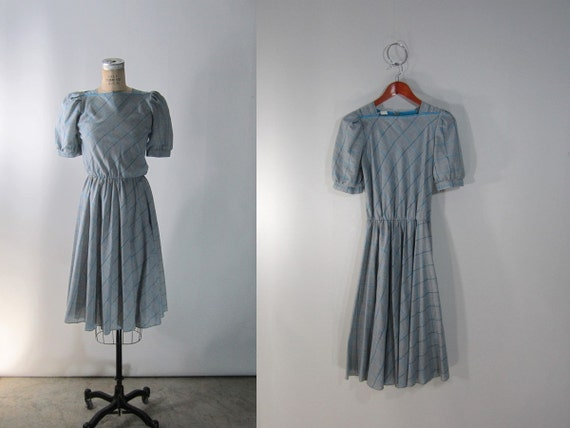 vtg 1980s Blue and Gray Plaid Picnic Dress // Small-Medium