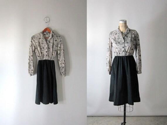 RESERVED....80s Bella Dress / Rambling Rose Print Black Dress // Small Medium