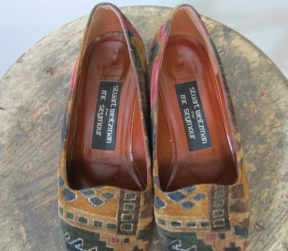 vtg 1980s // Stuart Weitzman Aztec Carpet Loafers // Size 5.5 US