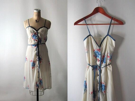 Vtg 1970s // Summer Lovin Floral Sundress // Small-Medium