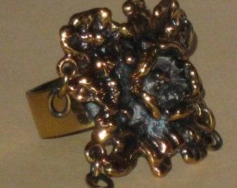 Great SARPANEVA FINLAND bronze SIGNATURE ring with danglers