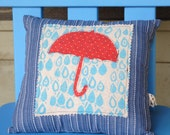 rainy day red umbrella pillow