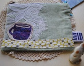 linen and lace coffee cup pouch ooak
